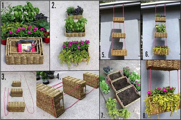 Hanging Wicker Basket Planter