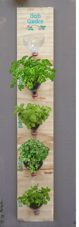Plywood Vertical Garden with Plastic Bottles