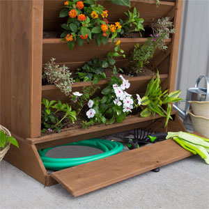 Storage Compartment in Cedar Planter