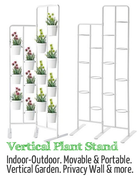 Vertical Plant Stand with Potted Plants, Movable, Portable, Privacy Wall
