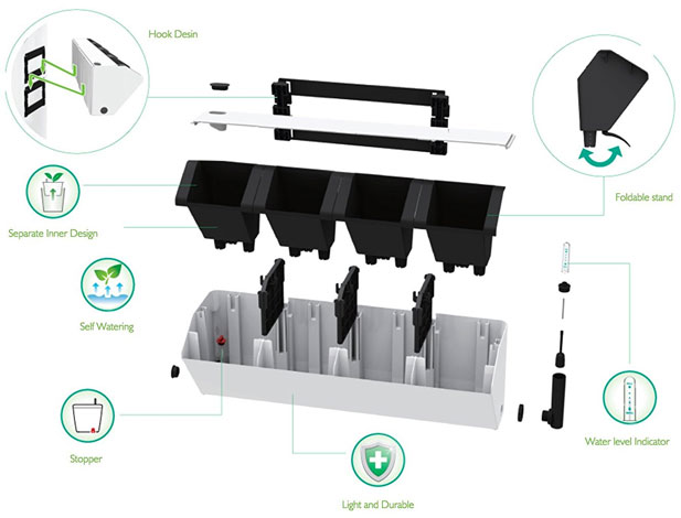 Parts and Installation Diagram for the BloomWall Vertical Planter