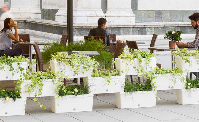 Half-Wall of Self-Watering Stacked Planter Boxes
